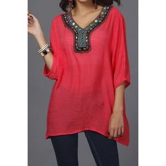 Women's Top - Vintage V-neck Beaded Tunic