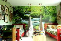 Milo & August's Shared Forest Bedroom — My Room (Apartment Therapy Main) Bedroom Themes, Girls Bedroom, Baby Bedroom, Bedroom Ideas, My Room, Girl Room, Forest Bedroom, Woodsy Bedroom, Fantasy Bedroom