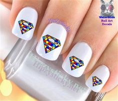 Details about Nail Art IMAGE Autism Puzzle Superman Charity WaterSlide Nail Decals Transf in 2019 Superman Nails, Superhero Nails, Easy Nail Art, Cool Nail Art, Local Nail Salons, Best Nail Art Designs, Hot Nails, Nail Decals, Creative Nails