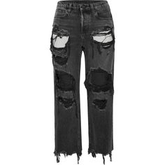 Alexander Wang Rival cropped distressed high-rise straight-leg jeans ($425) ❤ liked on Polyvore featuring jeans, pants, bottoms, high waisted distressed jeans, high-waisted jeans, ripped jeans, high rise jeans and cropped frayed jeans
