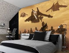 Giant size wallpaper mural for boy's room. Star Wars Klones War paper wallpaper ideas. Express and worldwide shipping. Free UK delivery.