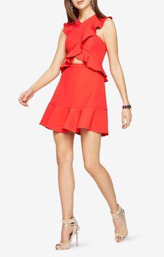Careen Ruffled Cutout Dress orange sleeveless $298 | BCBGMAXAZRIA