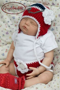 Girls Newborn Hockey Helmet Ear Flap Hat with Ties by Grandmabilt, $15.00