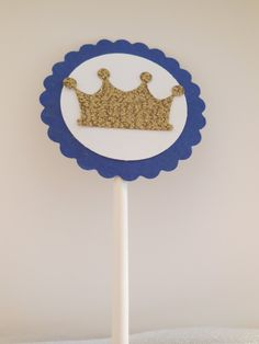 Navy Blue and Gold or Silver Crown Cupcake Topper, Silver Crown Cake Pick, Gold Crown Cake Topper, Gold and Blue Cupake Pick, Crown Pick by YouTopThat on Etsy