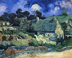 Houses with Thatched Roofs, Cordeville by Vincent van Gogh #art