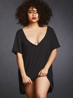 Soft and Comfy Oversized V Back Tee  Make it your own! This super-soft tee has a modern raw edge neckline and sleeves. Its sexy deep V neck can be worn either in the front or the back. Pair it with your favorite t-shirt bra and jeans, or a garterbelt and stockings. It also makes a great sleep shirt with panties or pajama bottoms. The post  Soft and Comfy Oversized V Back Tee  appeared first on  Vintage & Curvy .  http://www.vintageandcurvy.com/product/soft-and-comfy-oversized-v-back-tee