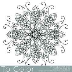 Detailed Printable Coloring Pages for Adults, Gel Pens Mandala Pattern, PDF / JPG, Instant Download, Coloring Book, Coloring Sheet Grown Up by ToColor on Etsy