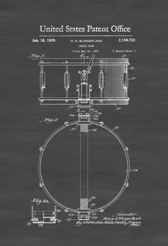 Snare Drum Patent 1939 - Patent Print Wall Decor Music Poster Musical Instrument…