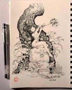 Inktober 2018 by Will Murai - The Art Showcase Art Sketches, Art Drawings, Arte Sketchbook, Sketchbook Inspiration, Pen Art, Art Challenge, Art Studies, Cool Artwork, Cute Art