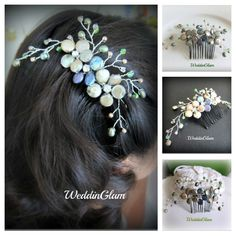 Bridal peacock theme hair comb. Blue green hair comb.  Freshwater pearls Crytals. Flower vines comb. Fall wedding hair fascinator by WeddinGlam on Etsy https://www.etsy.com/listing/104301739/bridal-peacock-theme-hair-comb-blue