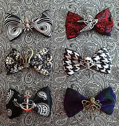 Set of Six Edgy Hair Bows Pinup Vintage Rockabilly Punk Rockabilly Pin Up, Rockabilly Fashion, Moda Pinup, Edgy Hair, Goth Hair, Gothic Hairstyles, Estilo Pin Up, Diy Clothes Videos, Pin Up Outfits