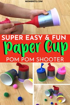 Super Easy And Fun Paper Cup Pom Pom Shooter