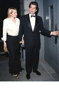 """""""The happy duo went for a matching black-and-white moment at a Whitney Museum gala in Photo: Getty Images. """"New York's Most Stylish Duo: Carolyn Bessette and JFK Jr."""" by Chrissy Rutherford, Harper's Bazaar (July Carolyn Bessette Kennedy, John Kennedy Jr., Les Kennedy, Caroline Kennedy, Jfk Jr, Black Tie Gown, John Junior, Garance, Grace Kelly"""