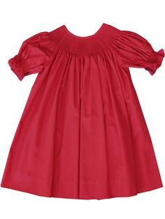 DIY Ready To Smock Baby Girls Bishop Dress Made in Red PIMA