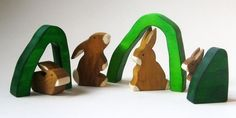 Wooden Bunny Rabbit Family Ecofriendly Wooden by Imaginationkids