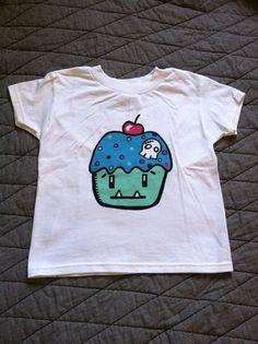 Youth XS 2T 4T Zombie Cupcake Monster Tshirt White by sohokitten, $25.00