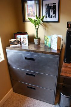 This beautiful, restored metal filing cabinet with solid wood top is a stunner! Use it as an office cabinet or as a dresser for an industrial rustic room. Featuring 3 drawers with ample room for whatever you need to store. This makes an awesome dresser for a bedroom as well! New Cabinet, Cabinet Drawers, Cabinet Furniture, Home Office Furniture, Storage Cabinets, Cabinet Ideas, Furniture Makeover, Furniture Decor, Used Cabinets