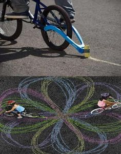 Chalk Trail For Bikes - Attach chalk to your bike and design cool art.