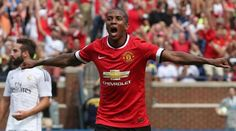 Ashley Young celebrates the first of his two goals against Real Madrid at The Big House. 2.8.2014. #mutour2014