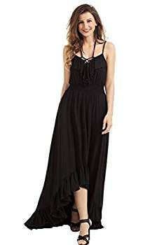 Women's girls Black Light Pink Lace Up V Neck Hi-low Long Boho Maxi Sexy Dress New