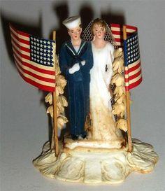 VINTAGE 40'S BRIDE GROOM CHALKWARE NAVY MILITARY WEDDING CAKE TOPPER. wedding cake toppers, cake wedding, 40s bride, vintage cakes, vintage cake toppers, wedding cakes, groom cake, bride groom