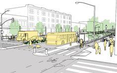 Performance Measures for safe & efficient city streets are explained and illustr. - Jennifer Home Architecture Graphics, Landscape Architecture, Architecture Design, Urban Design Plan, Plan Design, Urban Landscape, Landscape Design, Urban Ideas, Urban Fabric