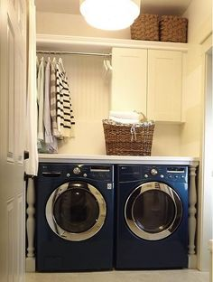 Laundry room Laundry room Laundry room, love the blue & white washer & dryer