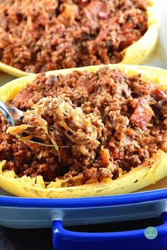 This Hearty Meat Chili Stuffed Spaghetti Squash is so satisfying! These flavors are sure to not disappoint!