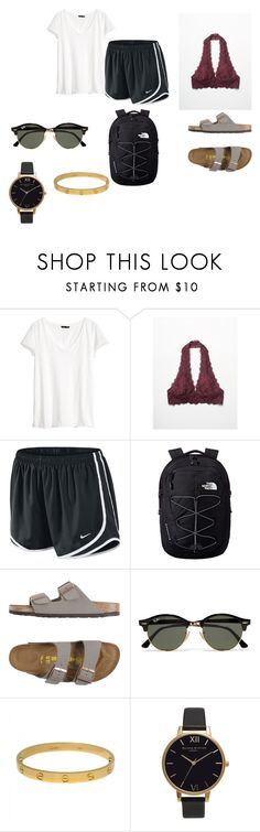 """""""lazy school day"""" by adrianagonzalez-t on Polyvore featuring H&M, Free People, NIKE, The North Face, Birkenstock, Ray-Ban, Cartier and Olivia Burton"""