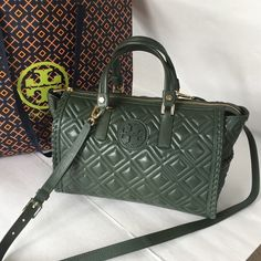 "New Tory Burch Marion Quilted Satchel bag ❤️brand new Tory Burch Marion quilted satchel leather bag. Color Douglas Fir. Removable adjustable strap. Come dust bag. Dimension: 12.5""L x 6""W x 8.5""H.❤️❤️❤️ Tory Burch Bags Satchels"