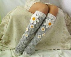 Grey socks with Сamomile. Handmade Knee high Socks Woo… Grey socks with Сamomile. Knitting Socks, Hand Knitting, Knit Socks, Crochet Gifts, Knit Crochet, Crochet Stitch, Womens Wool Socks, Grey Socks, Winter Socks