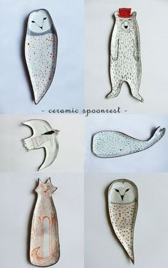 air dry clay  Clay Opera Ceramics Owl rest spoon