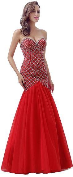 Charming Tulle Sweetheart Neckline Mermaid Evening Dresses With Beadings