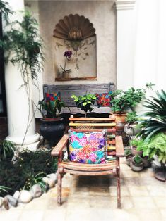 Outdoor decoration  handmade embroidered cussion  Casa Selah , San Cristobal de las Casas (Mexico)  #travel #inspiration #hotel #hotels #interior #design #interiordesign #decoration #furniture #color #atmosphere #palace #style #mexico #natural #organic #outdoor