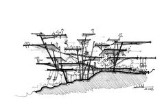 Sectional view uses line hatching and varied line weight to describe the buildings form.