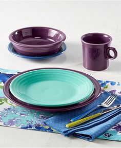 Mulberry Fiesta® Dinnerware Collection. Made in the USA by Homer Laughlin China Company | & 8 RETIRED CHOCOLATE BROWN FIESTA 10.5
