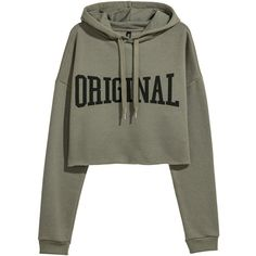 Short hooded top ❤ liked on Polyvore featuring tops, hoodies, patterned tops, long sleeve tops, print top, green hoodies and print hoodies