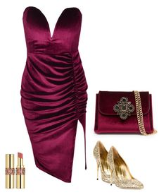 """Velvet V"" by societyofchic ❤ liked on Polyvore featuring Sebastian Milano, Yves Saint Laurent and Bebe"