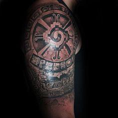 Male With Mayan Hunab Ku Half Sleeve 3d Tattoo