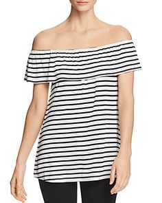 e48eec15a9145b Alison Andrews Marilyn Off-the-Shoulder Stripe Top Women - Bloomingdale s