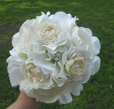 Fabric Flower Bouquet Wedding Bridesmaid Ivory by AfternoonDelite, $50.00