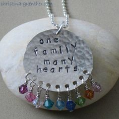 one family many hearts with swarovski birthstone crystals ~ personalized hand stamped jewelry
