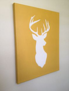 Buck Head Silhouette Hand Painted Canvas. Do 1 buck and 1 doe for above the bed and maybe a little spike too