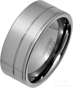 Men's 9mm Polished Double Groove Tungsten Carbide Ring £42