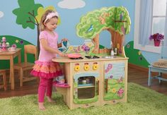 Fairy Woodland Kitchen|Fab Style Kids Rooms http://fabstylekidsrooms.com/Play-Rooms/Kitchens/Fairy-Woodland-Kitchen #playkitchen #kidstoys