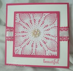 Check out Lyssa's 31 Days of Doilies from August 2011. I love the cluster of pearls she used on this card.