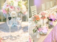 Vintage wedding head table decor: vintage pink satin with gold lace linens, cream chivari chairs, eclectic mix of blooms in milk glass and tea cups, ambient soft pink lighting
