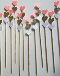 Triple Ombre Heart Coral Gold Custom Color Donut Picks, set of Bachelorette Party, Bridal Shower, Engagement Party, Valentine's Decor Diy Cake Topper, Birthday Cake Toppers, Cupcake Toppers, Valentine Decorations, Birthday Decorations, Diy For Kids, Crafts For Kids, Birthday Diy, Birthday Gifts