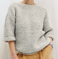Super knitting for beginners patterns sweaters garter stitch Ideas Sweater Knitting Patterns, Knitting Blogs, Knitting For Beginners, Knit Patterns, Free Knitting, Knitting Machine, Chunky Cardigan, Sweater Skirt, Garter Stitch