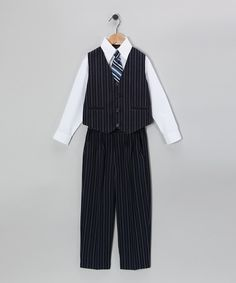 Look at this Silver Suit Navy & White Four-Piece Vest Set - Infant & Toddler on #zulily today!